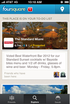 Foursquare advertising - Promoted Updates