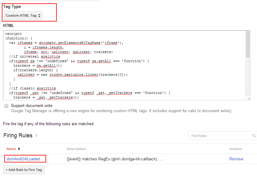 Google Tag Manager: tag for tracking iframes cross-domain