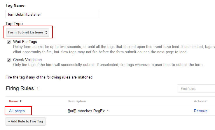Google Tag Manager Tag for listening to form submissions