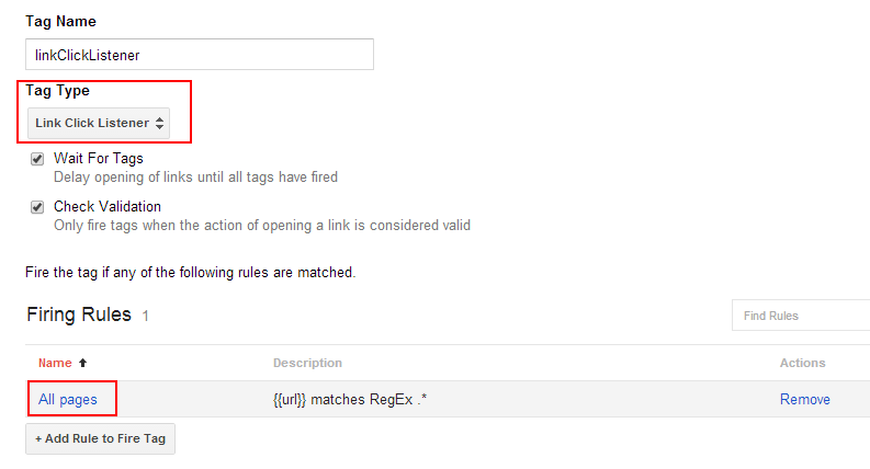 Set up link click listener in Google Tag Manager for cross-domain tracking