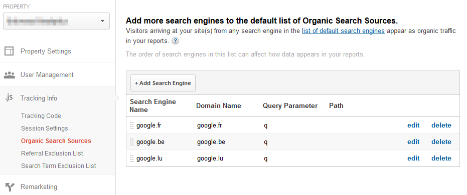 Universal Analytics - set up organic search engines