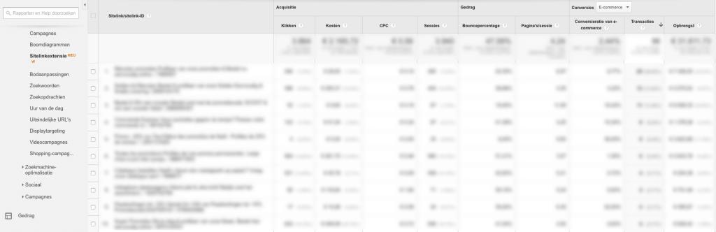 Google Analytics Sitelink extension report